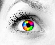 Colourful human eye. Of young girl royalty free stock image