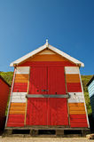 Colourful hut. A beach hut on the sea front at Cromer stock photography