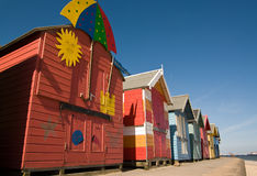 Colourful huts. Colourful beach huts on the sea front at Cromer royalty free stock images