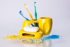 Colourful hygiene accessory on white background. Stock Photos