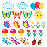Colourful icons for children. Baby icons on the theme of summer Stock Photography