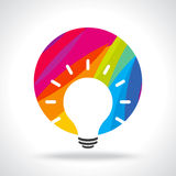 Colourful idea in white bulb Stock Images