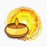 Colourful illuminated lit lamp for Happy Diwali celebration. Royalty Free Stock Photo