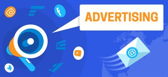 Colourful illustration of advertising as a marketing tool stock illustration