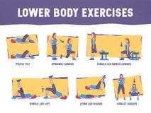 Colourful illustration demonstrates the proper exercise technique stock illustration