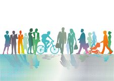 Colorful crowd in city. A colourful illustration of a group of pedestrians, bikers and commuters in city Royalty Free Stock Images
