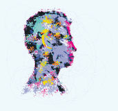 Colourful illustration of human head silhouette Royalty Free Stock Photography