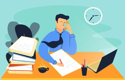 Colourful illustration of a man, who works in the office royalty free illustration