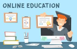 Colourful illustration of online education. The illustartion also shows books, computer, glasses, stationery. This vector illustration depicts a young man in a royalty free illustration