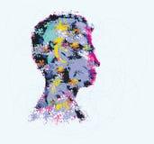 Colourful ilustracja ludzkiej głowy sylwetka ilustracja wektor