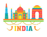 Colourful Indian Monuments for Independence Day. Royalty Free Stock Image