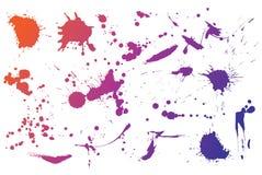 Colourful ink splashes. Isolated ink splashes on white background vector illustration