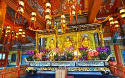 Interior of the Po Lin monastery Temple, Sutra verses on walls and Ceiling. Lantau Island, Hong Kong, China stock images
