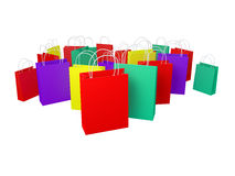 Colourful Isolated Bags. Lot's of high quality red, yellow, green and blue bags with clear faces on an isolated background. Ideally suitable for holidays, retail Stock Images