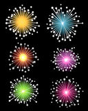 Colourful Isolated Fireworks. A series of colourful illustrated isolated fireworks Royalty Free Stock Images
