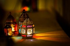 Colourful j?zyka arabskiego Ramadan lampion obraz royalty free