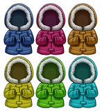 Colourful jackets. Set of colourful jackets on a white background Royalty Free Stock Photos
