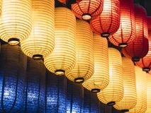 Colourful Japan Lantern Japanese festival in temple Royalty Free Stock Images