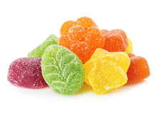 Colourful jelly candies close-up isolated on white background. Royalty Free Stock Image