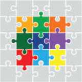 Colourful  jigsaw pieces background Royalty Free Stock Photos