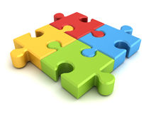 Colourful jigsaw puzzle pieces concept on white Stock Photography