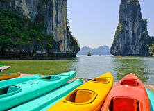 Colourful kayaks Royalty Free Stock Photos