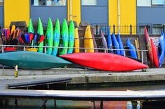 Colourful kayaks Stock Photos