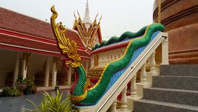 Colourful King of Nagas protect the Chedi Stock Photography