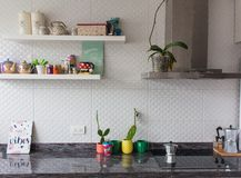 Kitchen good Vibes. Colourful Kitchen with good vibes, coffe machine, catus, sugar stock images
