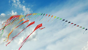 Colourful kites. In the sky stock images