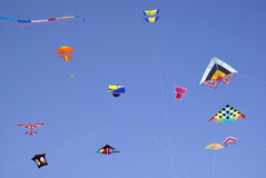 Colourful kites in sky Royalty Free Stock Photos