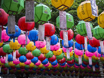 Colourful Korean lanterns around Bunhwangsa pagoa in Gyeongju, South Korea. Royalty Free Stock Photography