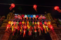 Colourful lampion, festiwal, Yi Peng lub Loy Krathong Fotografia Royalty Free