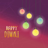 Colourful lamps for Happy Diwali celebration. Royalty Free Stock Images