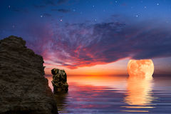 Colourful Landscape With Moon Royalty Free Stock Photos