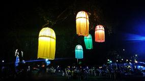 Colourful Silk lanterns. Traditional silk lanterns light up the city in the evening and brighten the wonderful night on the festival night in Northern Thailand royalty free stock images