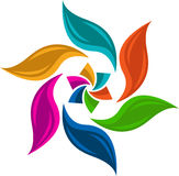 Colourful leaf logo. Illustration art of a colourful leaf logo with isolated background Stock Photos