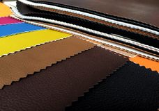Colourful leather samples closeup Stock Photo
