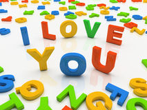 Colourful letters isolated on white background I love you. 3D royalty free illustration