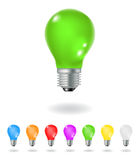 Colourful light bulbs Stock Images