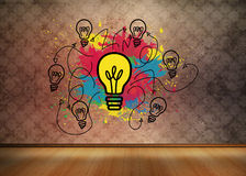 Colourful light bulbs graphic in empty brown room Royalty Free Stock Photography