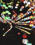 Colourful light display at London market Stock Photography
