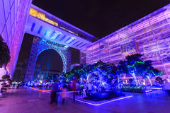 A colourful light projection at Putrajaya Malaysia. Royalty Free Stock Photography