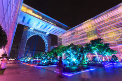 A colourful light projection at Putrajaya Malaysia. Royalty Free Stock Photo