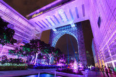 A colourful light projection at Putrajaya Malaysia. Royalty Free Stock Image