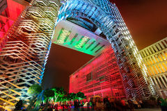 A colourful light projection at Putrajaya Malaysia. Stock Photo