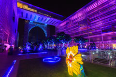 A colourful light projection at Putrajaya Malaysia. Stock Photos