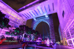 A colourful light projection at Putrajaya Malaysia. Royalty Free Stock Photos