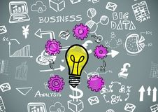 Colourful lightbulb with Business graphics drawings. Digital composite of Colourful lightbulb with Business graphics drawings Stock Images