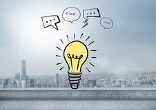 Colourful lightbulb with chat bubble drawings graphics Stock Photo